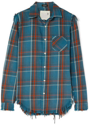 R 13 Boy Distressed Checked Cotton-flannel Shirt
