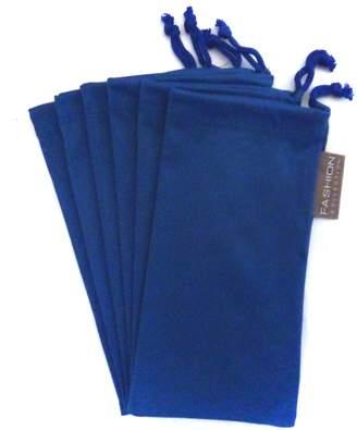 Moda 6 PC Eyewear Eyeglass Microfiber Soft Cleaning Cloth Bag Pouch Case BLUE
