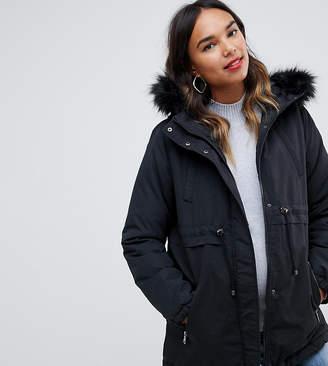 Mama Licious Mama.licious Mamalicious fur trim hood parka coat