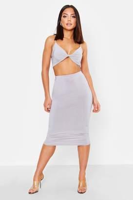 boohoo Double Layer Slinky Crop Top & Midi Skirt Co-Ord