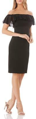 Carmen Marc Valvo Off-the-Shoulder Crepe Dress