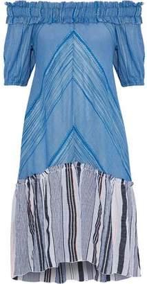 Lemlem Semay Off-The-Shoulder Embroidered Striped Cotton-Gauze Dress