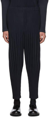 Issey Miyake Homme Plisse Navy Pleated Basics Trousers