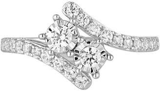 Allure Gems 1/2 Carat T.W. Diamond 10kt White Gold Two-Stone Bypass Ring with Miracle Plate