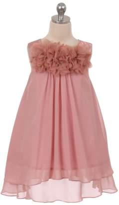 Kids Dream Ava- Mesh Flower Chiffon Dress Rose