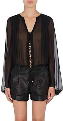 Saint Laurent Women's Lace-Up Silk Crop Blouse