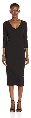 Michael Stars Women's Cotton Lycra 3/4 Sleeve Vee Neck Midi Dress