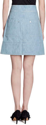 Isabel Marant Natalia High-Waist Cargo Pocket Chambray Skirt