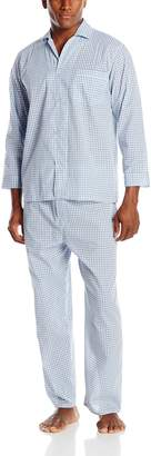 Geoffrey Beene Men's Big-Tall Checked Broadcloth Pajama Set