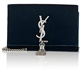 Saint Laurent Women's Monogram Kate Velvet Chain Wallet - Dk. Blue