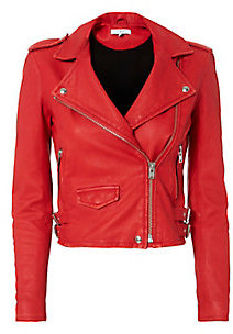 IRO Ashville Cropped Leather Jacket $1,198 thestylecure.com
