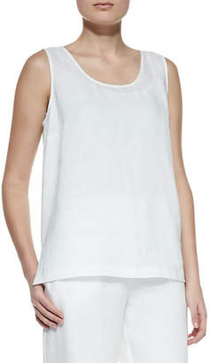 Go Silk Linen Scoop-Neck Tank, Plus Size