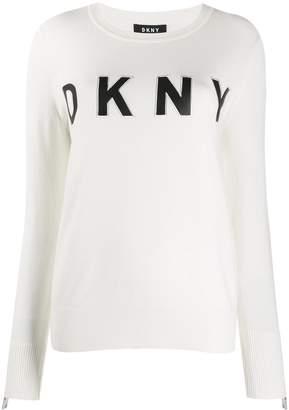 DKNY letter logo print fine knit sweater