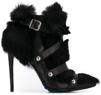 Frankie Morello rabbit fur buckle detail boots