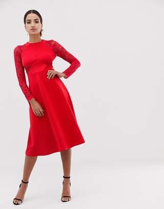 Asos DESIGN Premium Midi Scuba Skater Dress with Lace Sleeves