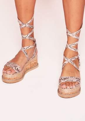 0105c1dc41a Missy Empire Missyempire Jolene Beige Snake Print Tie Up Espadrille  Platform Sandals