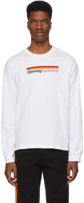 Opening Ceremony White Stripe Logo Long Sleeve T-Shirt