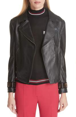 Fendi Leather Jacket with Faux Fur Logo Cuffs