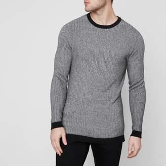 River Island Mens Grey Jack and Jones Premium crew neck sweater