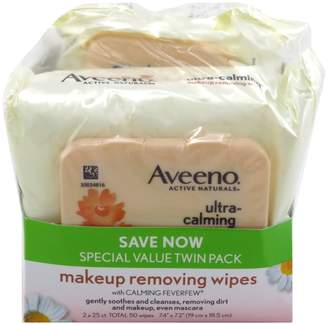 Aveeno Make-Up Remover Wipes 25 Count (TWIN PACK) Ultra Calming