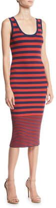 MICHAEL Michael Kors Scoop-Neck Sleeveless Striped Dress