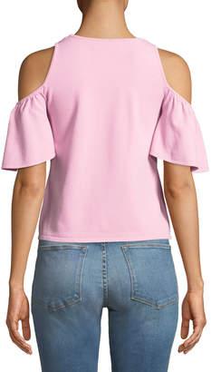 Milly Cold-Shoulder Flutter-Sleeve Blouse