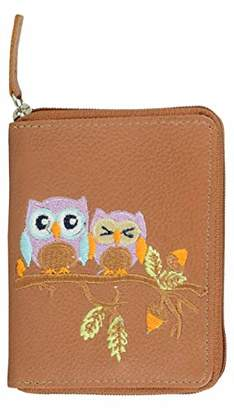 Tresori Women's Real Leather RFID Data Protected Zip Around Small Wallet-Owl Embroidery