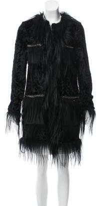 Herve Leger Aston Fur-Trimmed Coat w/ Tags