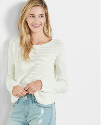Express crew neck shaker knit sweater $49.90 thestylecure.com