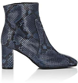 Barneys New York Women's Square-Toe Snakeskin Ankle Boots - Blue
