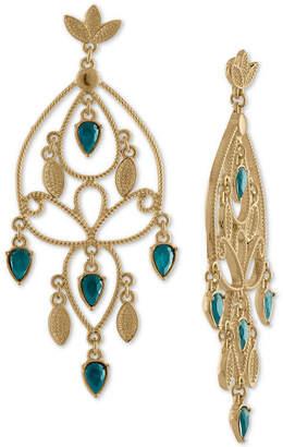 Rachel Roy Gold-Tone Colored Stone Chandelier Earrings