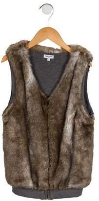 Splendid Girls' Faux Fur Zip-Up Vest