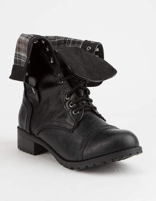 Soda Sunglasses Fold Down Faux Leather Black Womens Combat Boots