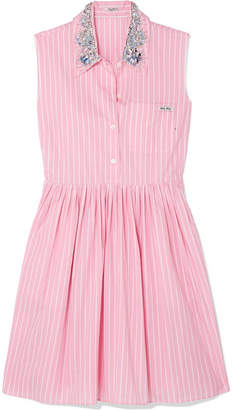 Miu Miu Embellished Striped Cotton-poplin Mini Dress - Pink