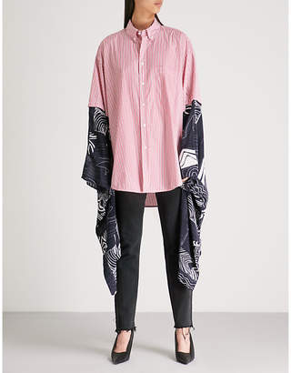 Balenciaga Ladies Red and White Pinstriped Kimono-Style Cotton-Poplin Shirt