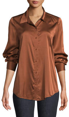 Eileen Fisher Long-Sleeve Silk Charmeuse Button-Front Shirt, Plus Size