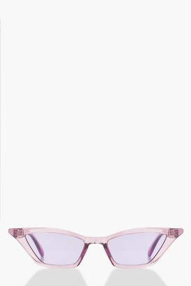 boohoo Purple Winged Skinny Cat Eye Sunglasses