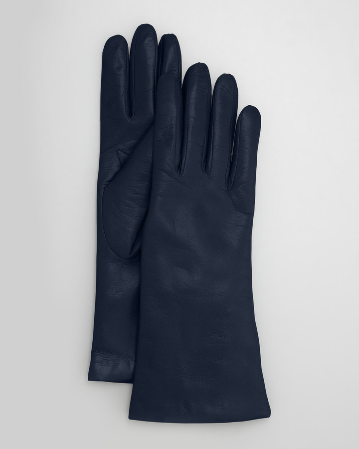 Portolano Four-Button Leather Gloves, Moroccan Blue