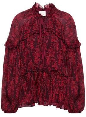 Cinq à Sept Ruffle-trimmed Printed Silk-georgette Blouse