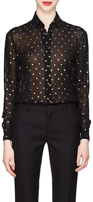 Saint Laurent Women's Glitter-Dot Georgette Blouse