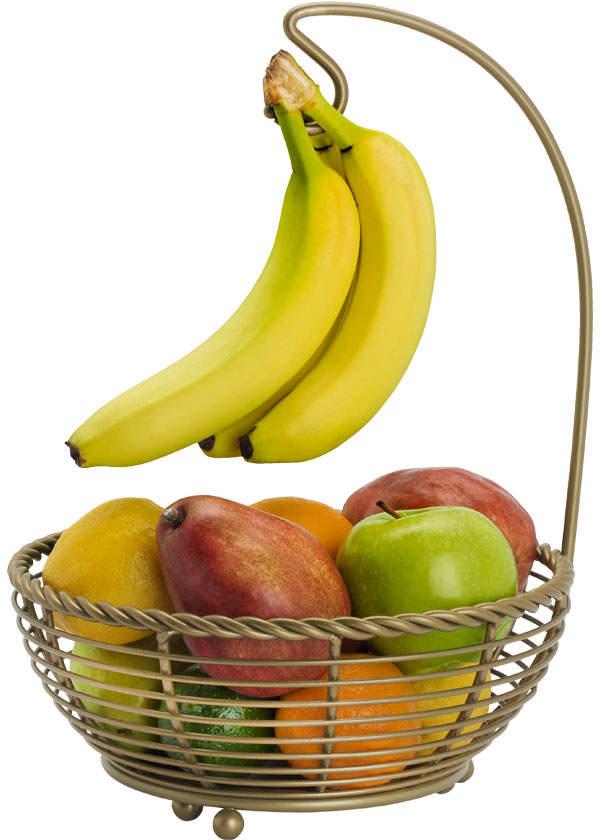 Gourmet Basics Rope Matte Gold Fruit Basket With Banana Hanger