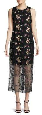 Vince Camuto Tropical Embroidered Overlay Shift Dress
