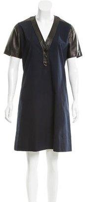 Derek Lam Leather-Paneled Shift Dress $150 thestylecure.com