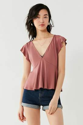 Urban Outfitters Flutter Sleeve Babydoll Top