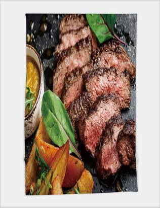 Pool' Minicoso Bath Towel Juicy Beef Rump Steak from Marble Beef Medium Rare with Potatoes and Sauce on Stone Plate Close up 490546975 for Spa Beach Pool Bath