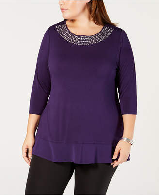 Belldini Belle by Plus Size Studded Chiffon-Hem Tunic