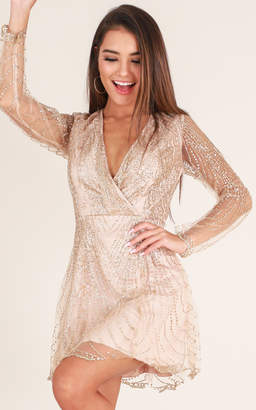 Showpo Dreamy Nights Dress in Gold Sparkle - 10 (M) Going Out Outfits
