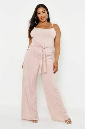 076993c32a boohoo Plus Tie Front Strappy Wide Leg Slinky Jumpsuit
