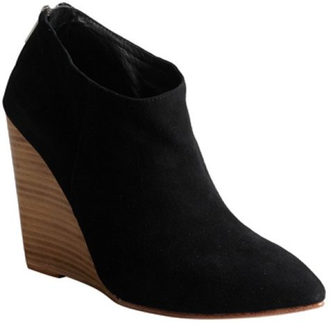 Madison Harding black suede pointed toe 'Hurley' wedge ankle boots