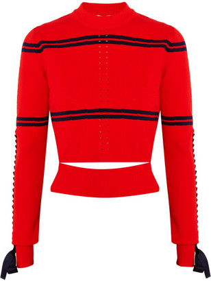Fendi - Cutout Faille-trimmed Striped Pointelle-knit Sweater - Red $850 thestylecure.com